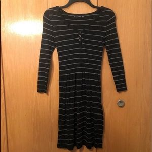 XS Mango Fit and Flare Striped Sweater Dress